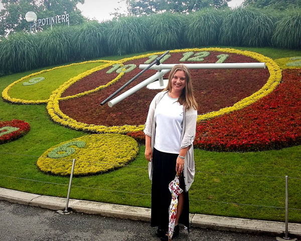 "Hanne Haavik by the famous ""Flowe Clock"" in Geneva"