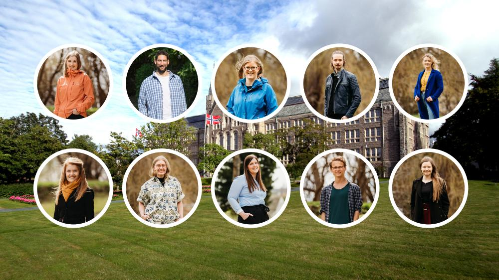 NTNU's particpants in Researchers' Prix 2020. Photo collage with the Main Building in the background