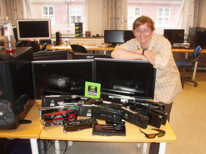 Elster posing with said GPUs, 2010
