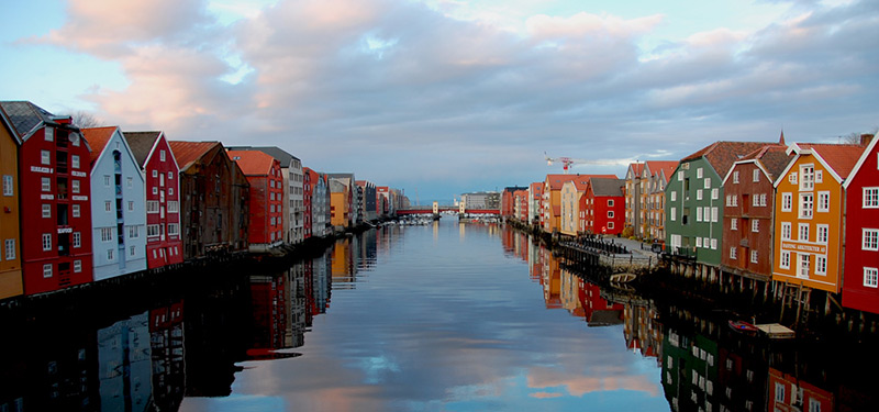 Traditional wharves in Trondheim