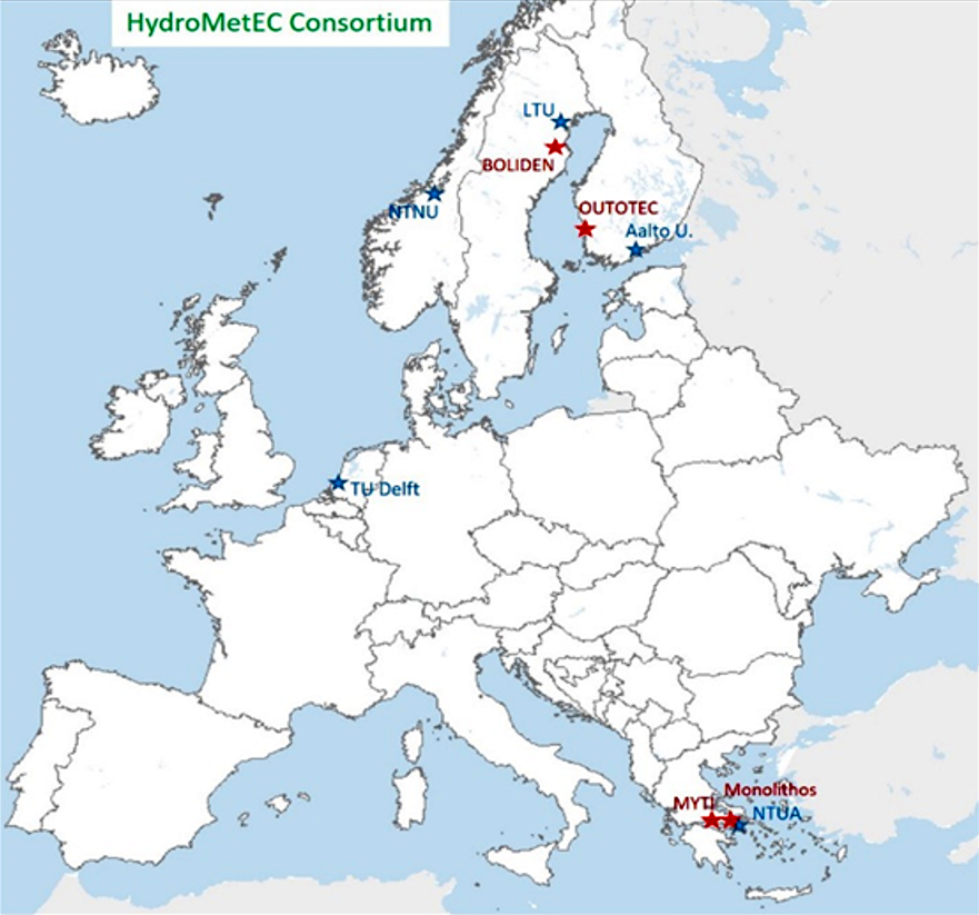 Map over Europe with cities marked related to the HydroMetEC Consortium. Map