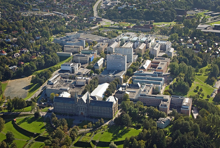 Aerial view of Gloeshaugen campus, NTNU