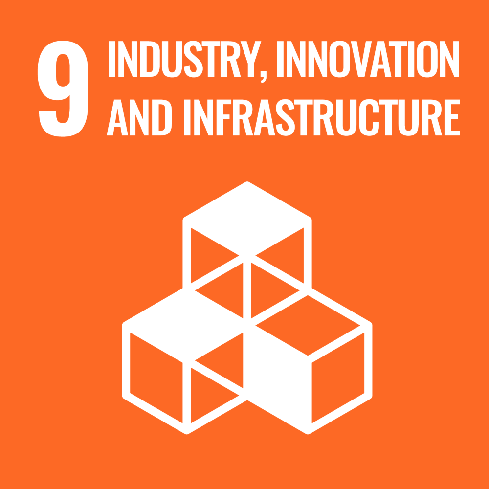Icon - UN Sustainable Development Goal 9 - Industries, innovation and infrastructure. Link to Sustainable Development goal 9.