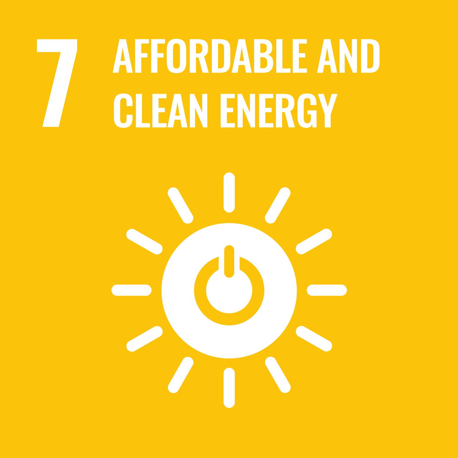 UNs Sustainable Development Goal 7 Affordable and clean energy. Link to UNs Sustainable development goal number 7