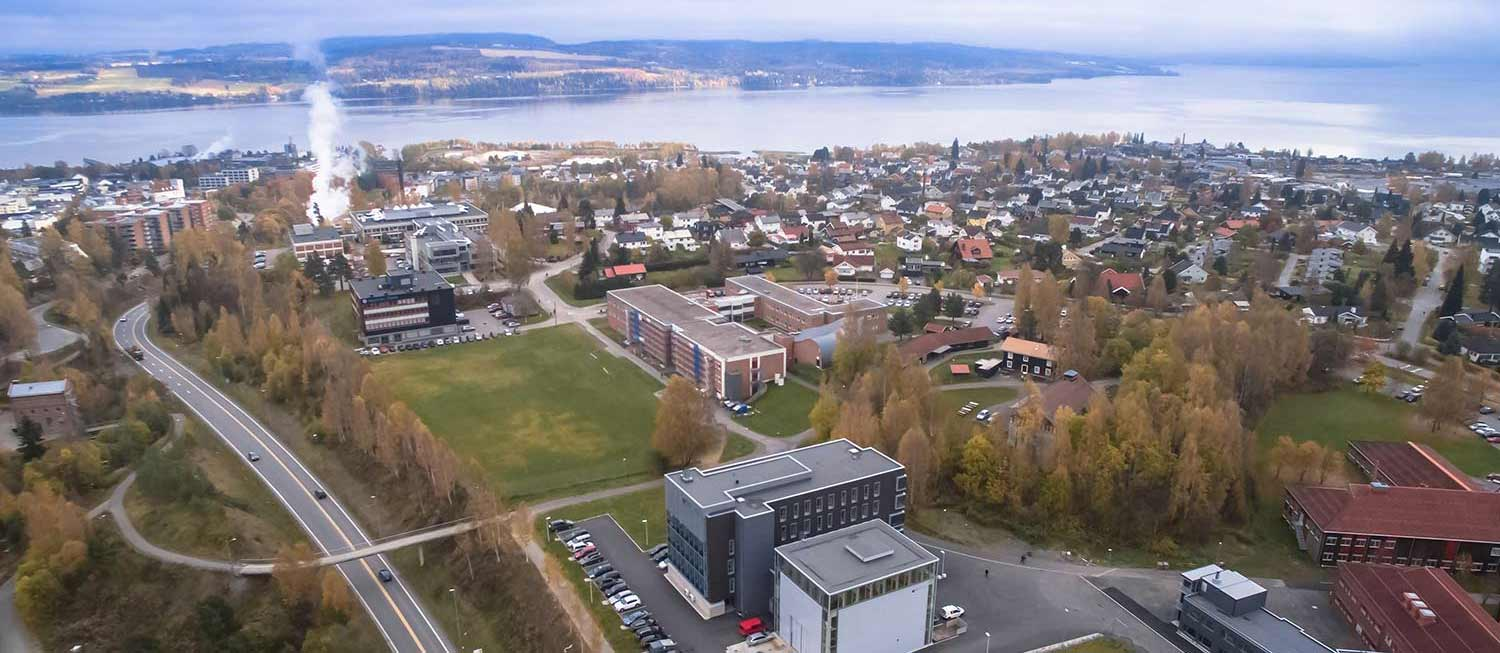 Overview of Gjøvik and the campus at NTNU in Gjøvik