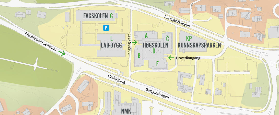 Map of NTNU in Ålesund campus buildings. Illustration.