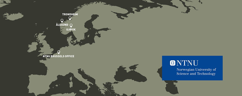 Map: NTNU's campuses in Trondheim, Gjøvik and Ålesund and NTNU Brussels Office