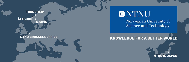 Map: NTNU in Trondheim, Gjøvik, Ålesund, Brussels, Japan