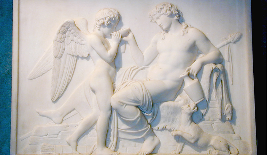 Base relief by Bertel Thorvaldssen of Bacchus giving Cupid a drink
