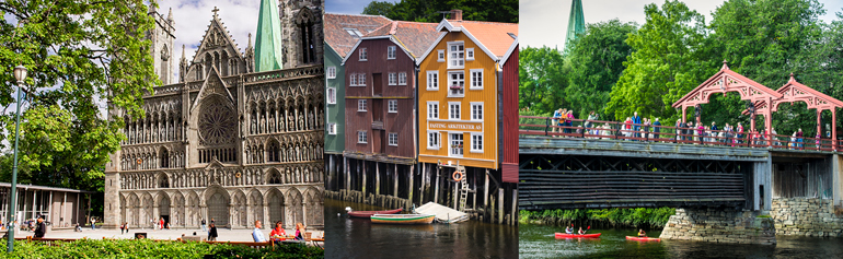 Views from Trondheim: Nidaros Cathedral, the old wharves and the old town bridge