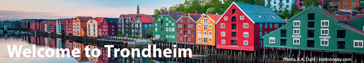 Welcome to Trondheim: the picure shows the old wharves by Nidelva in Trondheim