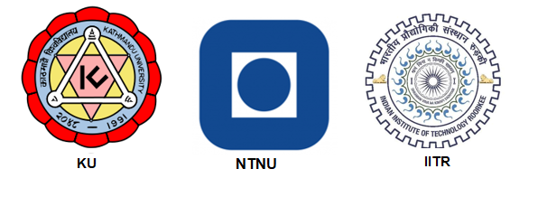Logo of Kathmandu University, NTNU and IIT Roorkee (from left)