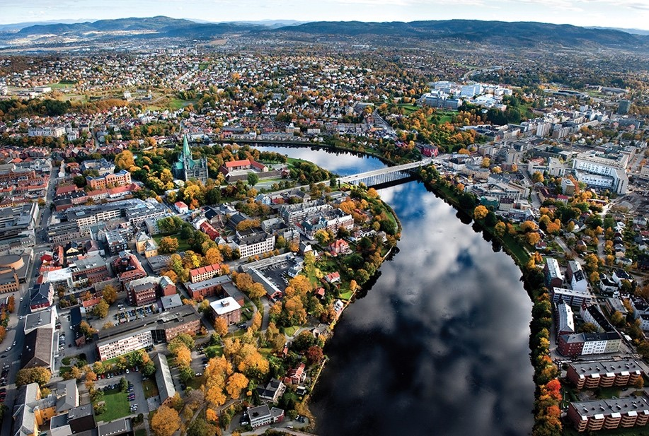 Aerial photo of Trondheim