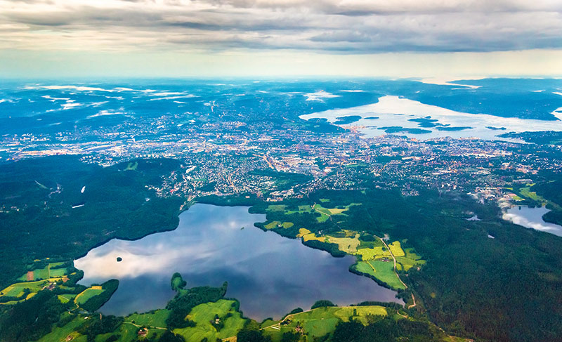 View of Oslo from an airplane on the approach to Gardermoen Airport - Norway