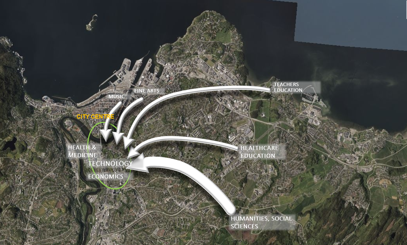 Map over current and future campus in Trondheim