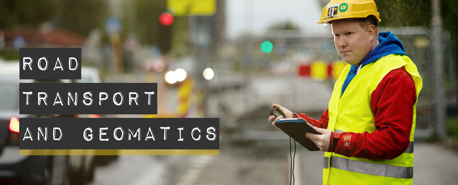 "Photo. Transport researcher counting traffic. Text with research group name ""Roads, transport and geomatics"""