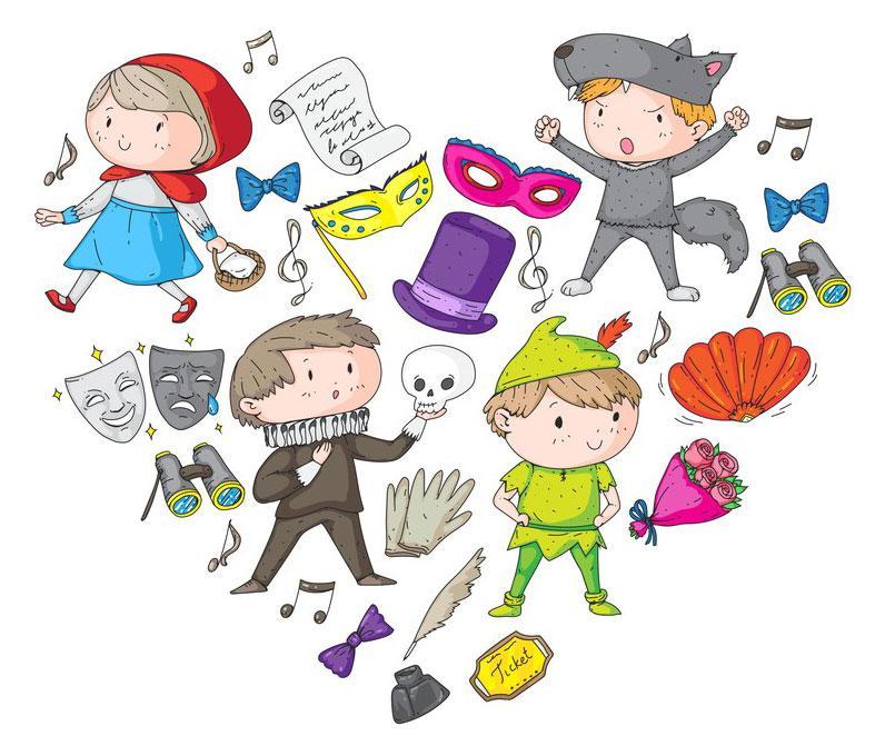 Illustrasjon barn og teater. Grafisk tegning.
