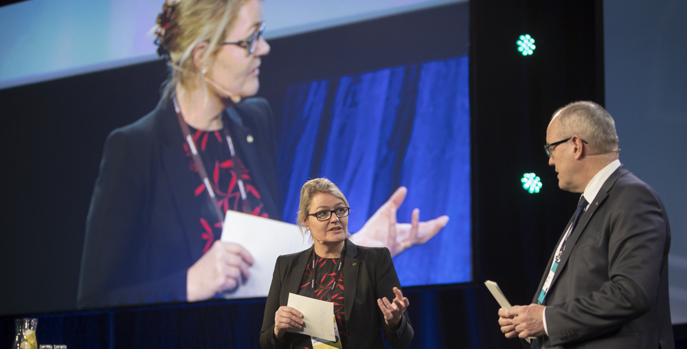 Pro-Rector for Innovation Toril A. Nagelhus Hernes and Rector Gunnar Bovim at Technoport 2018. Photo: Thor Nielsen/NTNU