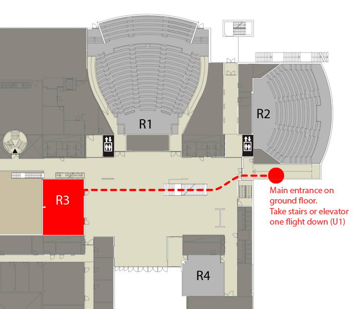 Realfagbygget floorplan. The conference takes place in R3 on floor U1.