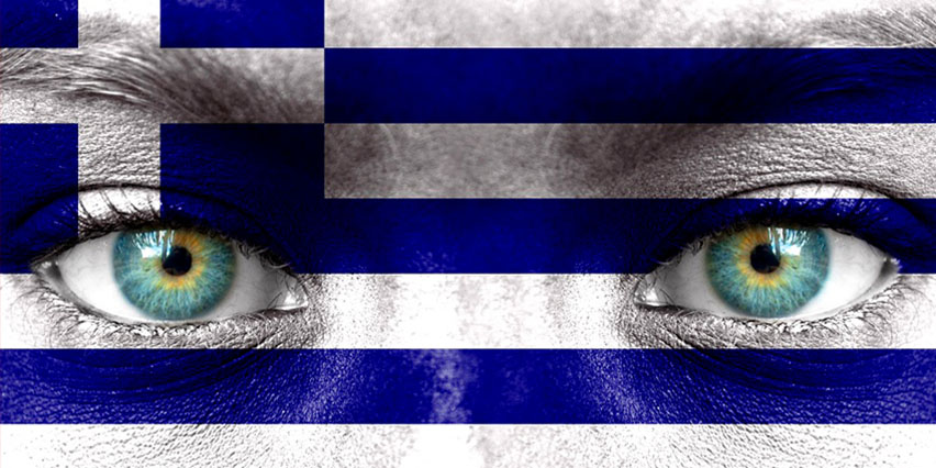 A greek flag with a face put in the places where the with parts should be. Illustration.