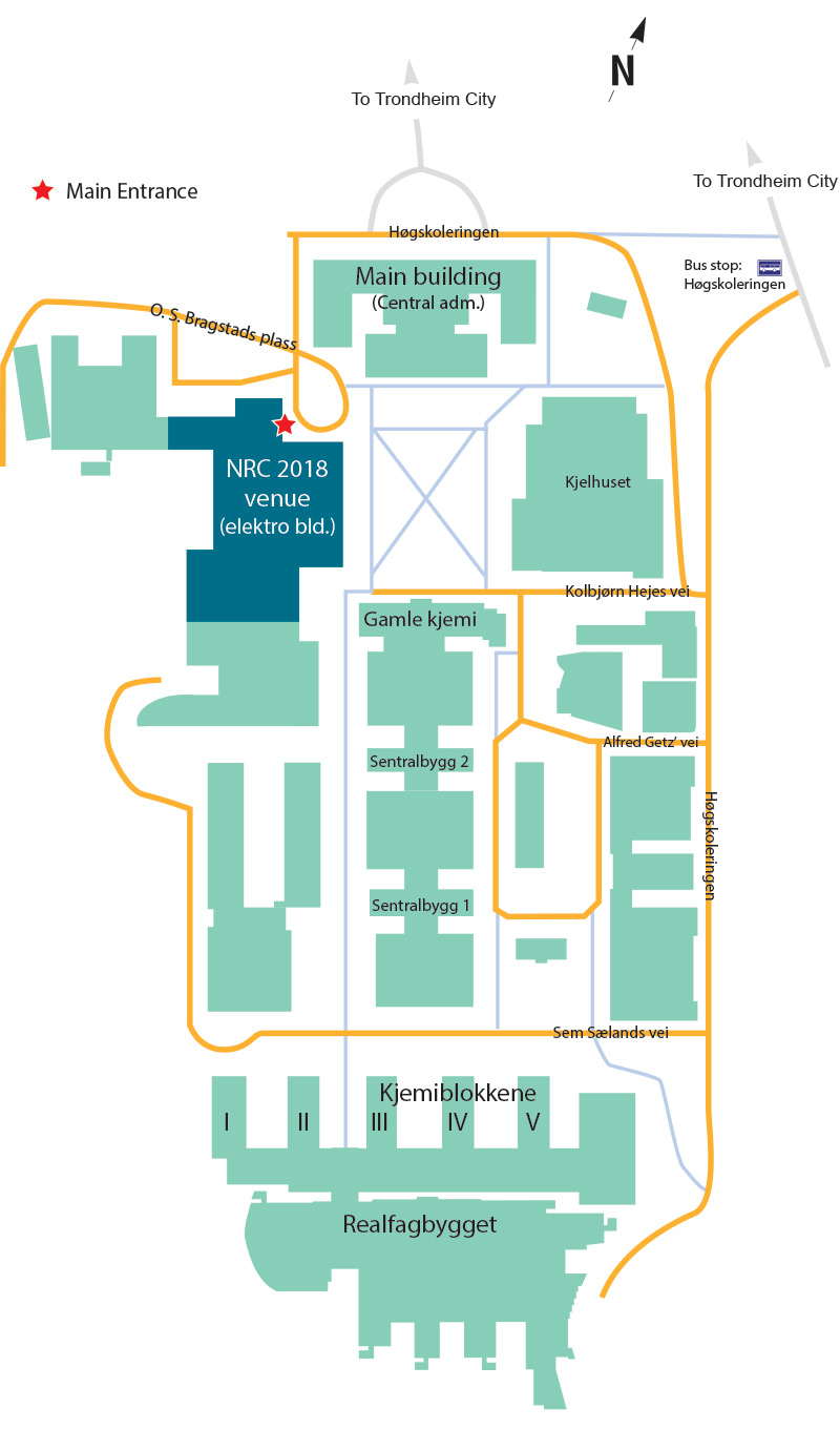 Campus map showing Elektrobygget at Gloshaugen campus, NTNU