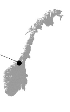Map over Norway that shows Trondheims location