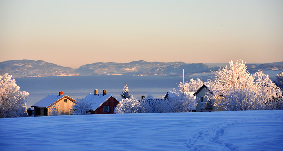 Fjord landscape in Trøndelag: houses, hills and mountains surrounding the fjord covered in snow.
