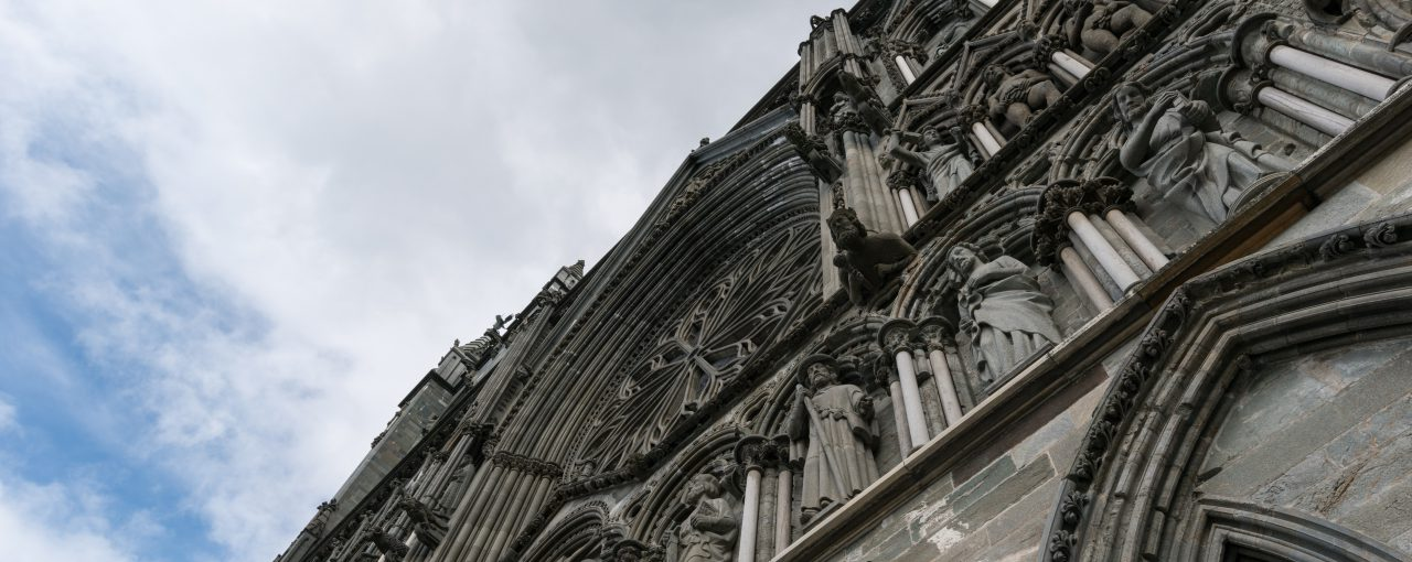 Part of the West Front of The Nidaros Cathedral.