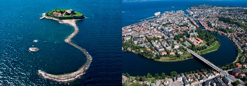 Aerial photos of Munkholmen islet and Trondheim city