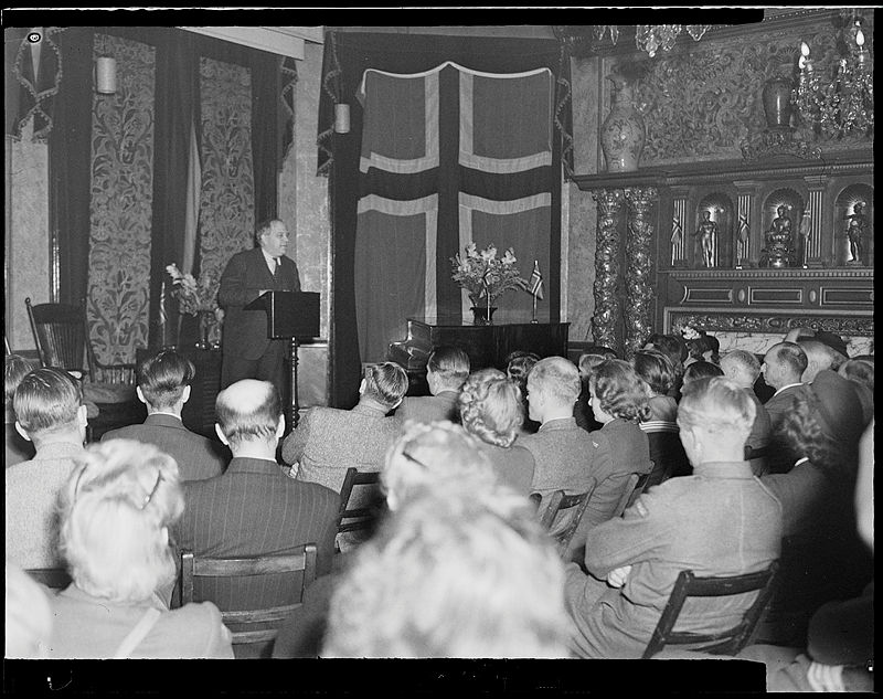C.J. Hambro, President of the Norwegian Parliament and leader of Høyre in the Norwegian Parliament, speaking to a Norwegian youth group in exile in London in 1943