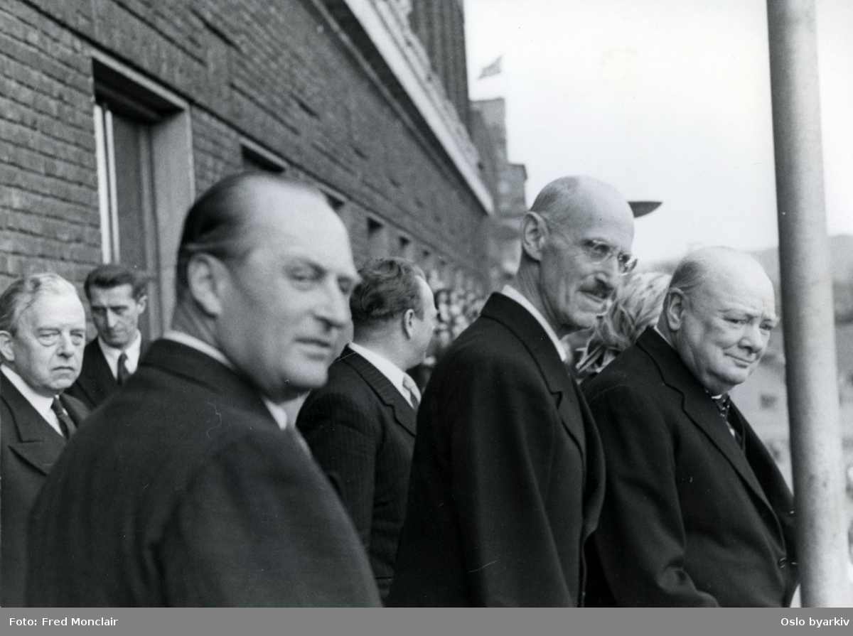 Winston Churchill, leader of the British Conservative Party, visiting Oslo in 1948 to receive an honorary doctorate from the University of Oslo. Here he is pictured with Crown Prince Olav and King Haakon 7