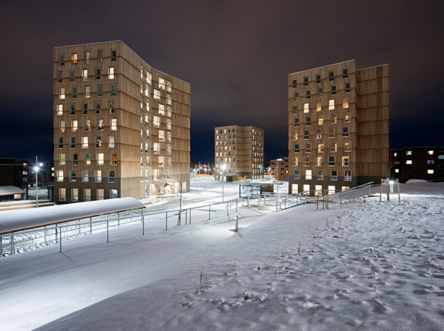 winter night exterior of the student village Moholt 50/50
