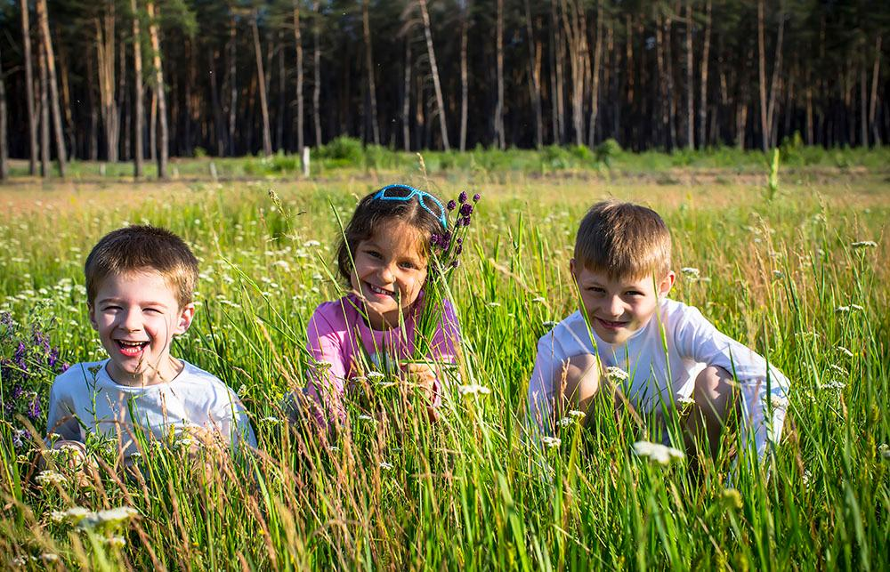 Three happy children sitting in the meadow