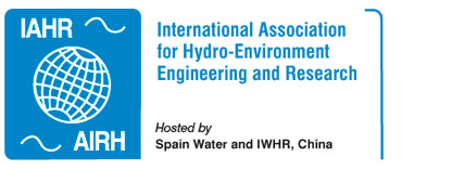 IAHR - International Association for Hydro Environment Engineering logo with text: Hosted by Spain water and IWHR China