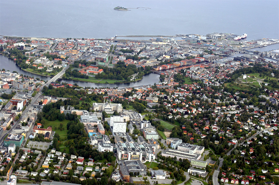 Photo of Trondheim and NTNU from above. Photo