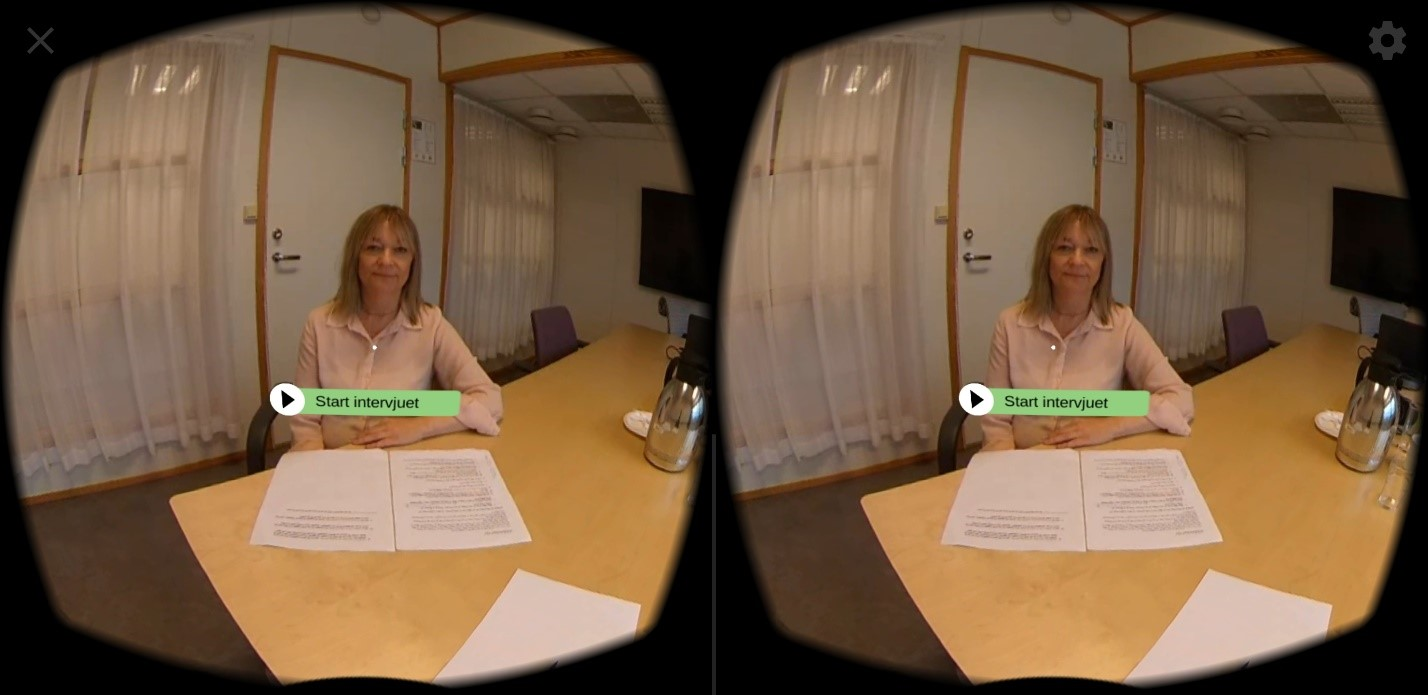 Job interview situation in VR. Illustration.