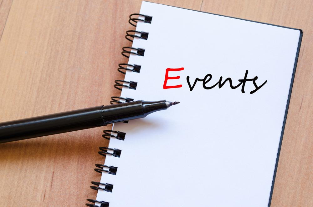 Tekst with Events written on a notepad