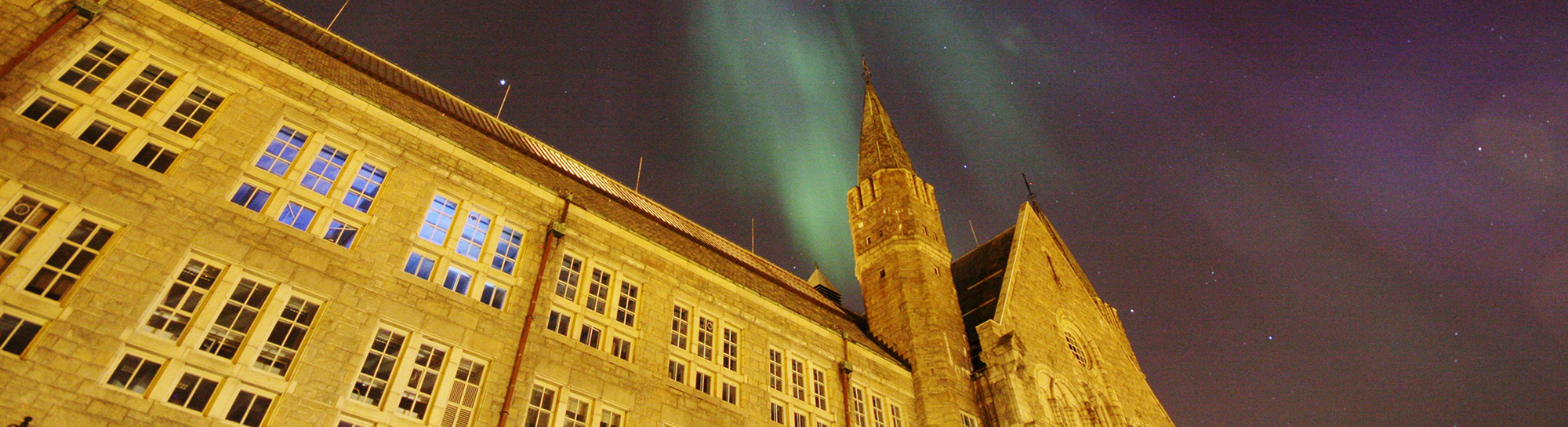 NTNU Main Administration Building with Northern Light, March 17 2015. Photo: Maxime Landrot / NTNU Comm.Div.