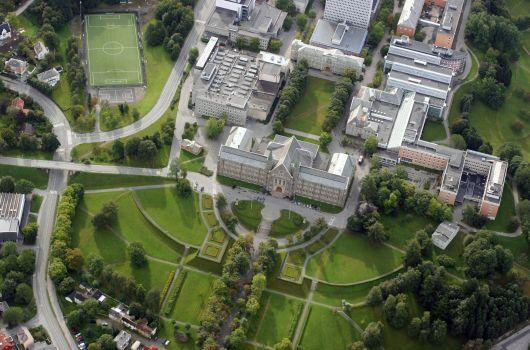 Aerial view of Gløshaugen campus. Photo: Lars Strømmen, NTNU
