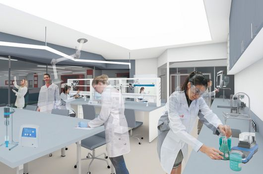 People working in a lab. Illustration: Bergersen arkitekter AS