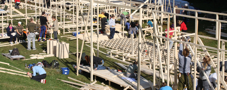 Picture of students who are building