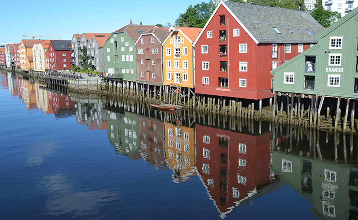 The old wharves by Nidelven river in Trondheim