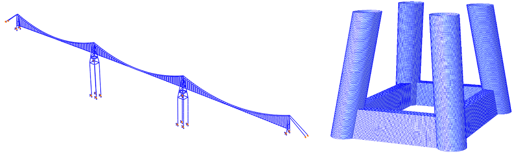 Numerical model in Abaqus CAE of a floating suspension bridge (leftmost picture) and panel model of TLP in hydrodynamic software (rightmost picture). Illustration by NTNU/Sondre Halden, Shun Wei Gong and Yuwang Xu.