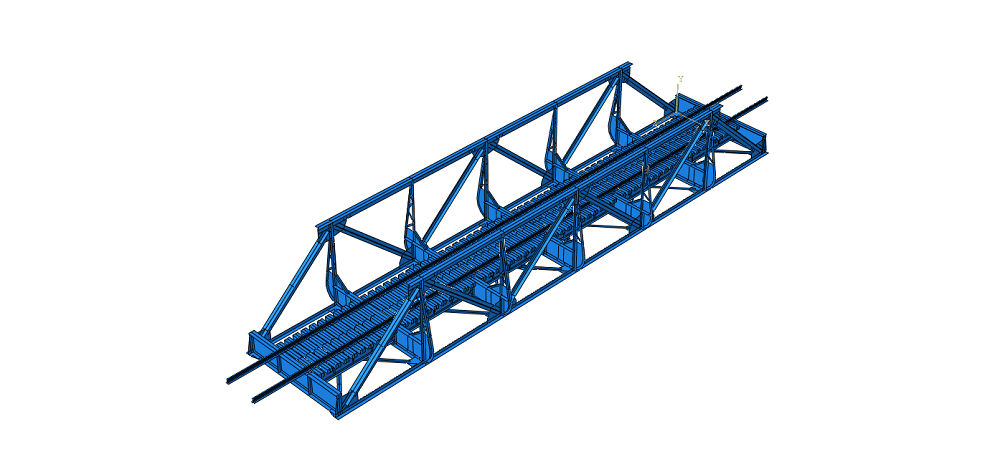 Numerical model of the Lerelva Railway Bridge made in Abaqus CAE. Model and illustration by NTNU/Bartosz Siedziako and Gunnstein Thomas Frøseth.