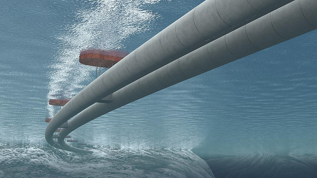 Underwater general view of a Submerged Floating Tube Bridge with pontoons. Credit: The Norwegian Public Roads Administration/Vianova.