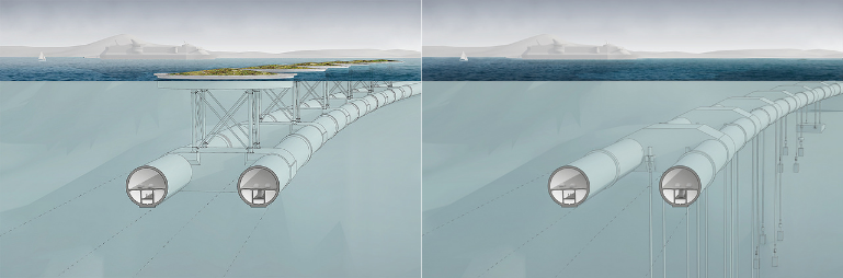 Cross-section of SFTB with pontoons (leftmost picture) and vertical tethers (rightmost picture). Credit: Snøhetta.