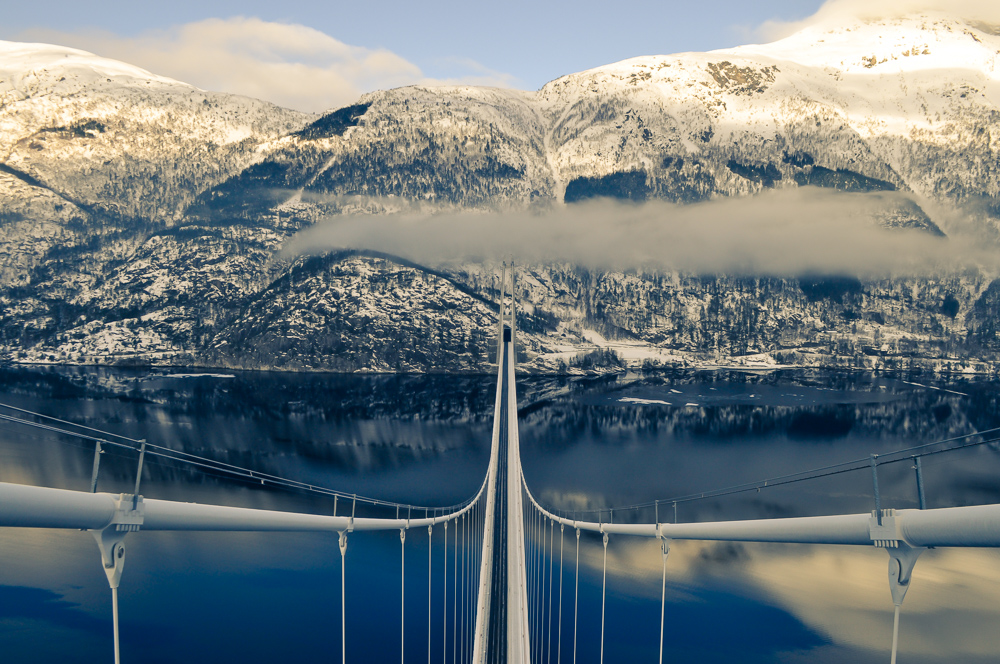 The Hardanger Bridge seen from the top of the tower. Photograph by NTNU/Aksel Fenerci.