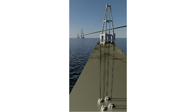 Illustration of a floating bridge anchoring concept. Credit: The Norwegian Public Roads Administration.