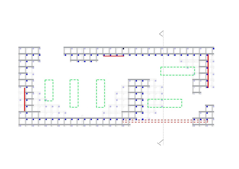 Plan of the structural system as built. Blue: Columns (to ground), Red dotted line: Beam above entrance, Red lines: Shear walls and Green lines: Skylights. Illustration: Rallar arkitekter/Bendik Manum.