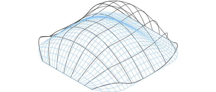 Perspective view of a shell showing the influence of changing boundary condition on the funicular shape using the genetic algorithm approach. Illustration: NTNU/Marcin Luczkowski.